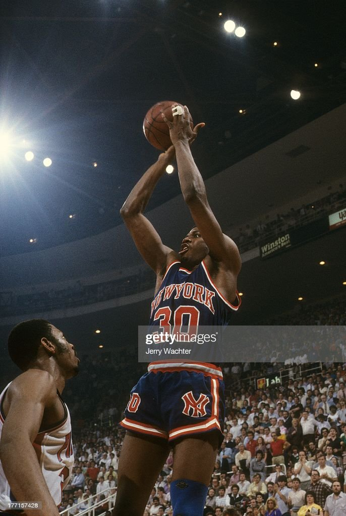 New York Knicks <a gi-track='captionPersonalityLinkClicked' href=/galleries/search?phrase=Bernard+King&family=editorial&specificpeople=214248 ng-click='$event.stopPropagation()'>Bernard King</a> (30) in action, shot vs Detroit Pistons at Joe Louis Arena. Game 5.Detroit, MI 4/27/1984CREDIT: Jerry Wachter