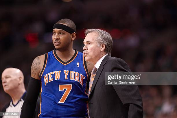 NBA Playoffs New York Knicks Carmelo Anthony with coach Mike D'Antoni during game vs Boston Celtics at TD Garden Game 2Boston MA 4/19/2011CREDIT...