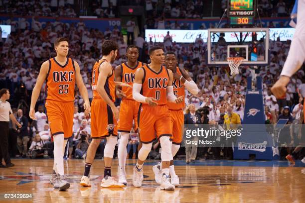 NBA Playoffs Oklahoma City Thunder Russell Westbrook Doug McDermott Alex Abrines Jerami Grant and Victor Oladipo during game vs Houston Rockets at...