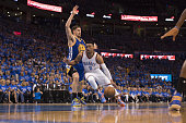 NBA Playoffs Oklahoma City Thunder Russell Westbrook in action vs Golden State Warriors Klay Thompson at Chesapeake Energy Arena Game 6 Oklahoma City...
