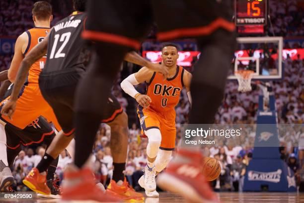 NBA Playoffs Oklahoma City Thunder Russell Westbrook in action vs Houston Rockets at Chesapeake Energy Arena Oklahoma City OK CREDIT Greg Nelson