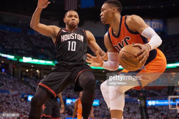 NBA Playoffs Oklahoma City Thunder Russell Westbrook in action vs Houston Rockets Eric Gordon at Chesapeake Energy Arena Oklahoma City OK CREDIT Greg...