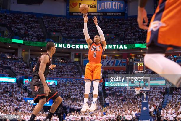 NBA Playoffs Oklahoma City Thunder Russell Westbrook in action shooting vs Houston Rockets at Chesapeake Energy Arena Oklahoma City OK CREDIT Greg...