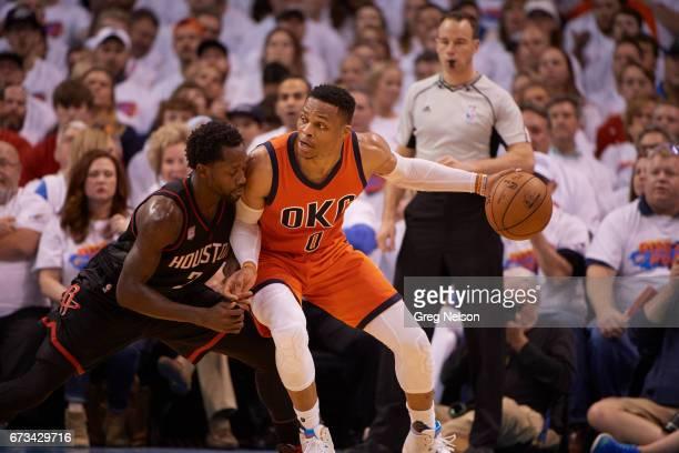NBA Playoffs Oklahoma City Thunder Russell Westbrook in action vs Houston Rockets Patrick Beverley at Chesapeake Energy Arena Oklahoma City OK CREDIT...