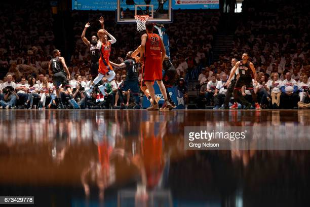 NBA Playoffs Oklahoma City Thunder Russell Westbrook in action vs Houston Rockets James Harden at Chesapeake Energy Arena Oklahoma City OK CREDIT...