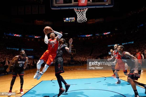 NBA Playoffs Oklahoma City Thunder Russell Westbrook in action vs Houston Rockets Nene at Chesapeake Energy Arena Oklahoma City OK CREDIT Greg Nelson