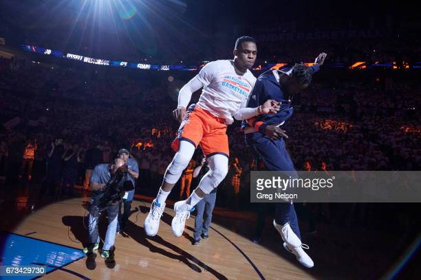 NBA Playoffs Oklahoma City Thunder Russell Westbrook during introductions with Jerami Grant before game vs Houston Rockets at Chesapeake Energy Arena...