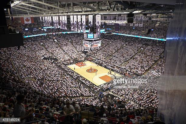 NBA Playoffs Overall view of court fans in stands during Toronto Raptors vs Washington Wizards game at Air Canada Centre Toronto Canada 4/18/2015...