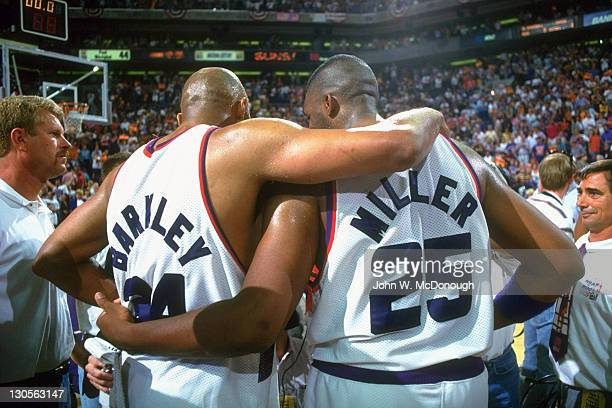 NBA Playoffs Phoenix Suns Charles Barkley and Oliver Miller during game vs Los Angeles Lakers at America West Arena Game 5 Phoenix AZ CREDIT John W...
