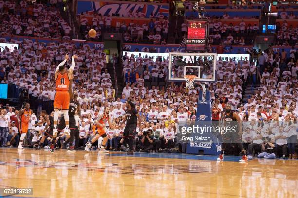 NBA Playoffs Rear view of Oklahoma City Thunder Russell Westbrook in action shooting vs Houston Rockets at Chesapeake Energy Arena Oklahoma City OK...