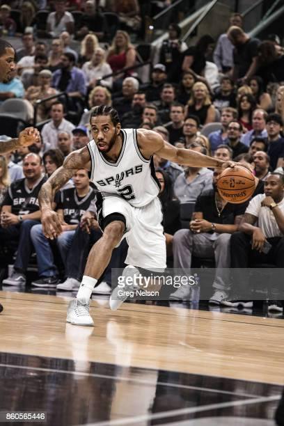 NBA Playoffs San Antonio Spurs Kawhi Leonard in action vs Houston Rockets at ATT Center Game 2 San Antonio TX CREDIT Greg Nelson