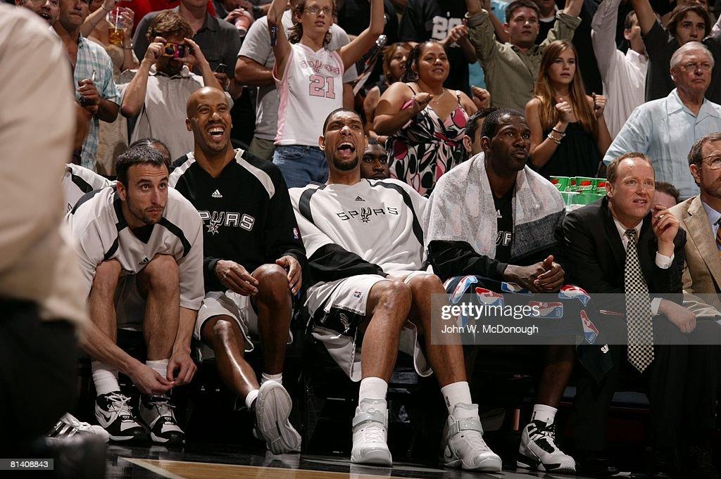 NBA Playoffs, (L-R) San Antonio Spurs Manu Ginobili (20), Bruce Bowen (12), Tim Duncan (21), Michael Finley (4), and assistant coach Mike Budenholzer on sidelines bench during Game 5 vs Utah Jazz, San Antonio, TX 5/30/2007