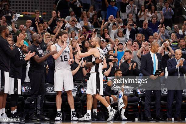 NBA Playoffs San Antonio Spurs Manu Ginobili walking off court heading to bench with Pau Gasol during game vs Golden State Warriors at ATT Center...
