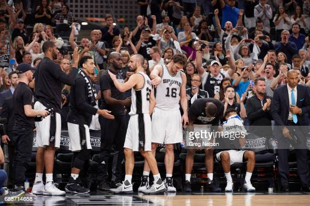 NBA Playoffs San Antonio Spurs Manu Ginobili walking off court heading to bench with Pau Gasol Danny Green and Joel Anthony during game vs Golden...