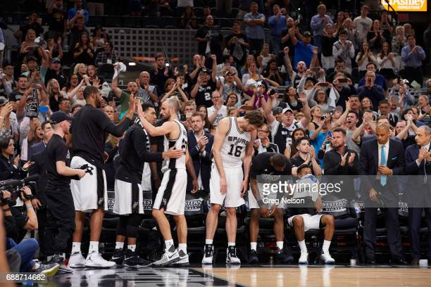 NBA Playoffs San Antonio Spurs Manu Ginobili walking off court heading to bench with Pau Gasol Danny Green and LaMarcus Aldridge during game vs...