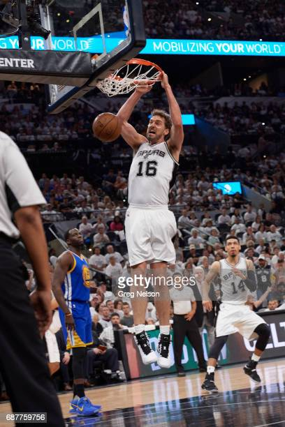NBA Playoffs San Antonio Spurs Pau Gasol in action dunking vs Golden State Warriors at ATT Center Game 3 San Antonio TX CREDIT Greg Nelson