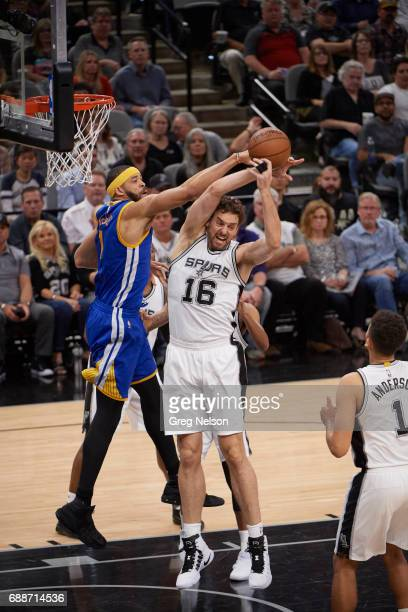 NBA Playoffs San Antonio Spurs Pau Gasol in action rebounding vs Golden State Warriors JaVale McGee at ATT Center Game 4 San Antonio TX CREDIT Greg...
