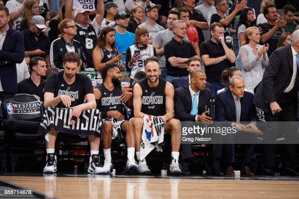 NBA Playoffs San Antonio Spurs Pau Gasol Patty Mills and Manu Ginobili on bench during game vs Golden State Warriors at ATT Center Game 4 San Antonio...