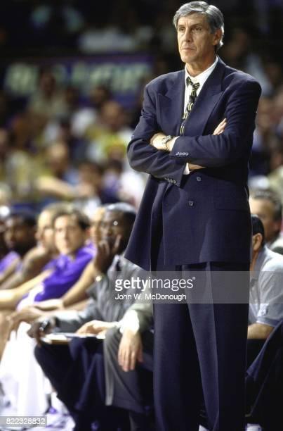 NBA Playoffs Utah Jazz coach Jerry Sloan during game vs Los Angeles Lakers at Great Western Forum Game 4 Inglewood CA CREDIT John W McDonough