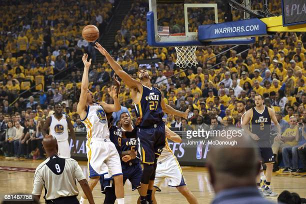 NBA Playoffs Utah Jazz Rudy Gobert in action shot block vs Golden State Warriors Klay Thompson at Oracle Arena Game 2 Oakland CA CREDIT John W...