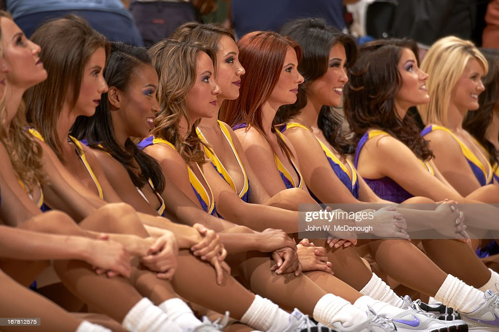 View of Los Angeles Lakers cheerleaders on sidelines during Game 3 vs San Antonio Spurs at Staples Center. John W. McDonough F185 )