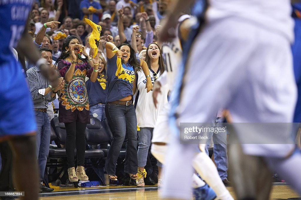 View of Memphis Grizzlies female fans courtside during Game 3 vs Oklahoma City Thunder at FedEx Forum. Robert Beck F238 )