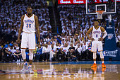 NBA Playoffs View of Oklahoma City Thunder Kevin Durant and Russell Westbrook during game vs Golden State Warriors at the Chesapeake Energy Arena...