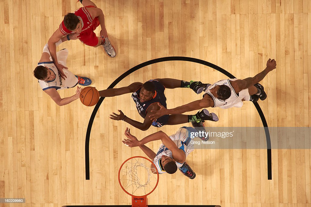 Aerial view of Charlotte Bobcats Michael Kidd-Gilchrist (14) in action during All-Star Weekend at Toyota Center. Greg Nelson F92 )