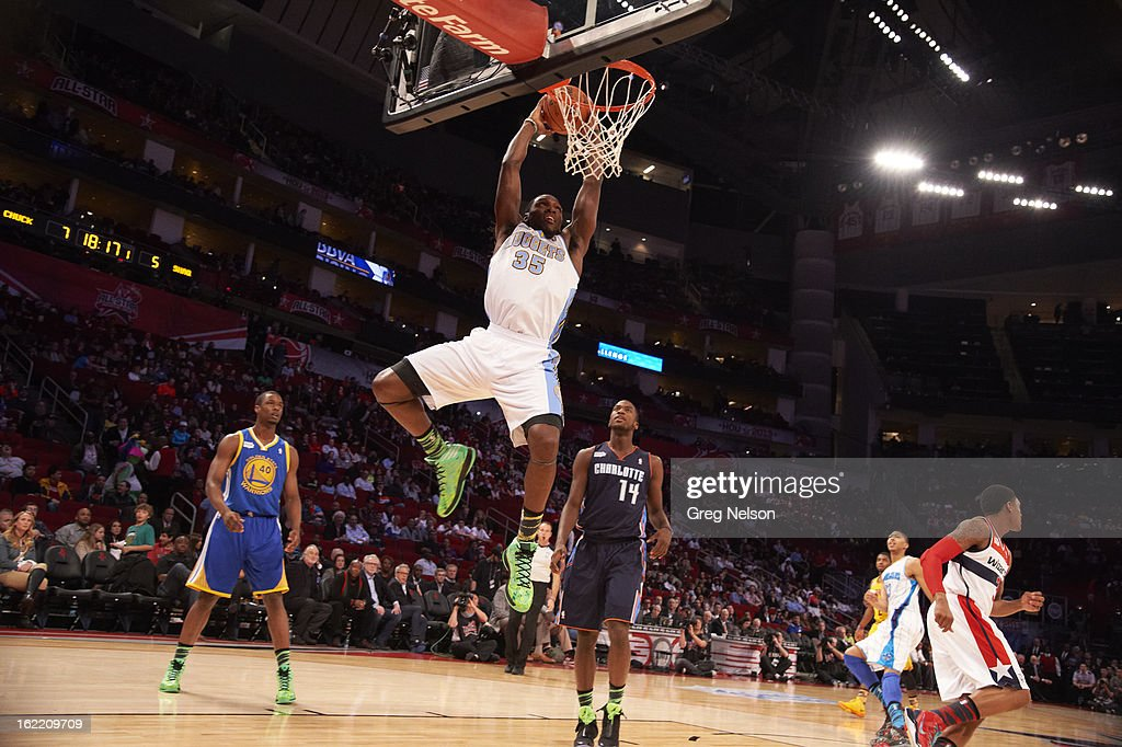 Denver Nuggets Kenneth Faried (35) in action, dunking during All-Star Weekend at Toyota Center. Greg Nelson F15 )