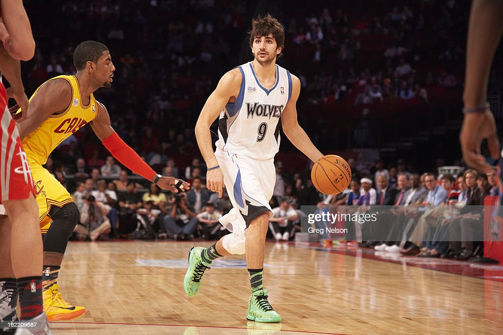 Minnesota Timberwolves Ricky Rubio (9) in action during All-Star Weekend at Toyota Center. Greg Nelson F5 )