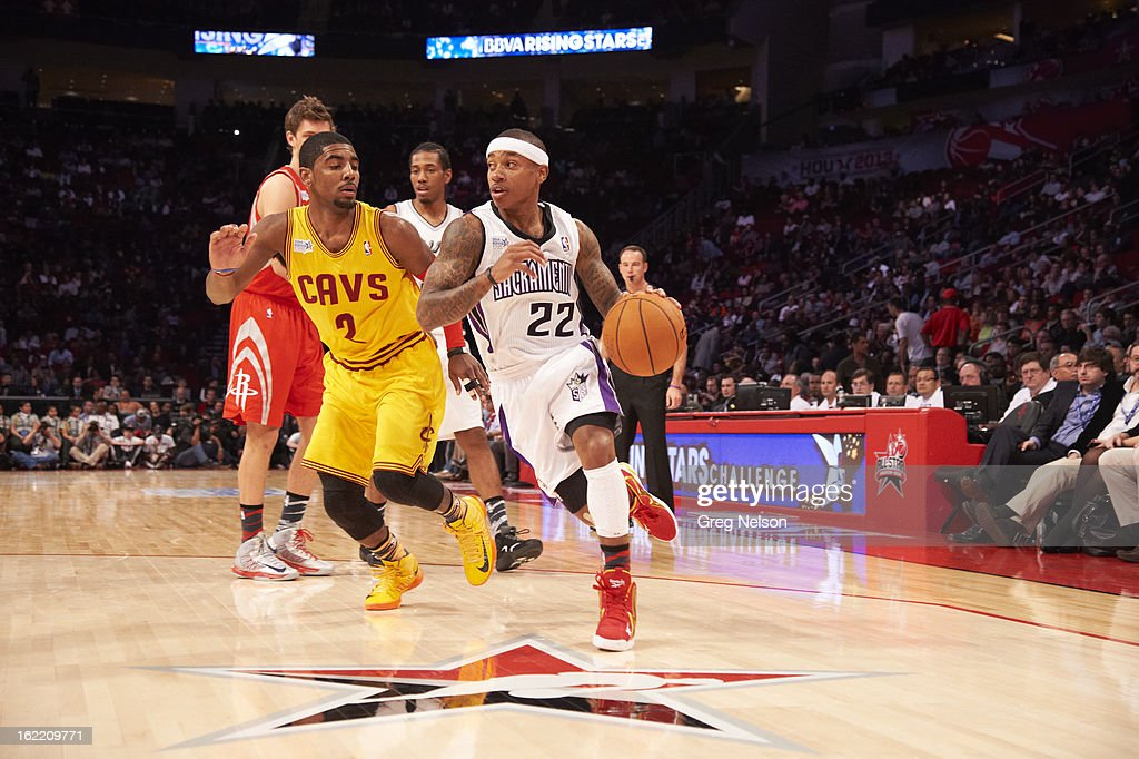 Sacramento Kings Isaiah Thomas (22) in action vs Clevaland Cavaliers Kyrie Irving (2) during All-Star Weekend at Toyota Center. Greg Nelson F71 )