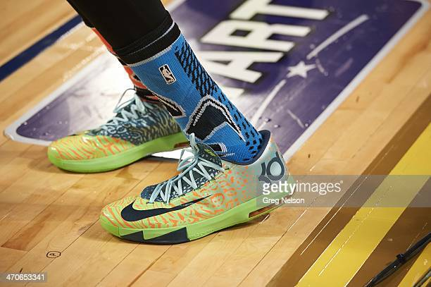 NBA Shooting Stars Closeup view of sneakers of Oklahoma City Thunder Kevin Durant on State Farm AllStar Saturday Night during AllStar Weekend at...