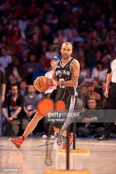 NBA Skills Challenge San Antonio Spurs Tony Parker in action during AllStar Saturday Night of AllStar Weekend at Amway Arena Orlando FL CREDIT Greg...
