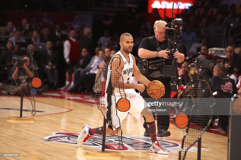 San Antonio Spurs Tony Parker (9) in action during All-Star Weekend at Toyota Center. Greg Nelson F124 )