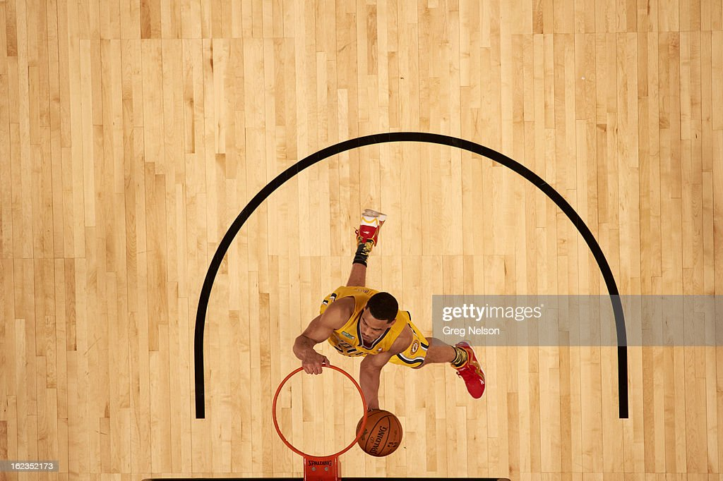 Aerial view of Indiana Pacers Gerald Green (25) in action, dunk during All-Star Weekend at Toyota Center. Greg Nelson F98 )