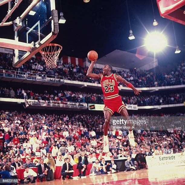 NBA Slam Dunk Contest Chicago Bulls Michael Jordan in action making dunk during All Star Weekend Chicago IL 2/6/1988 CREDIT Walter Iooss Jr