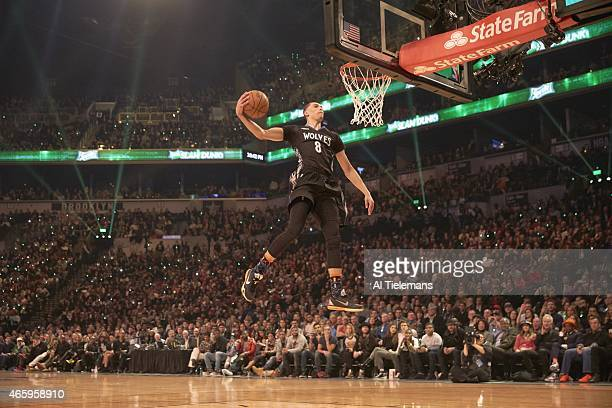 NBA Slam Dunk Contest Minnesota Zach LaVine in action dunking during All Star Weekend at Barclays Center Brooklyn NY CREDIT Al Tielemans