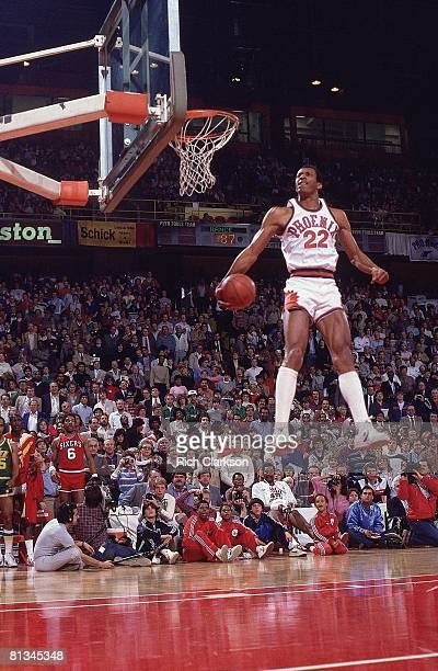 Basketball NBA Slam Dunk Contest Phoenix Suns Larry Nance in action making dunk during All Star Weekend Denver CO 1/29/1984