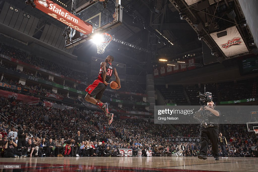 Toronto Raptors Terrence Ross (31) in action, dunk during All-Star Weekend at Toyota Center. Greg Nelson F23 )