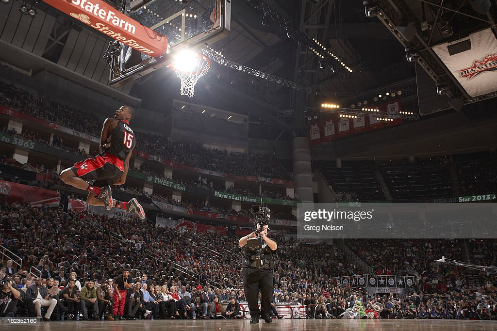 Toronto Raptors Terrence Ross (31) in action, dunk during All-Star Weekend at Toyota Center. Greg Nelson F64 )