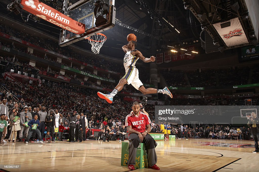 Utah Jazz Jeremy Evans (40) in action, dunk during All-Star Weekend at Toyota Center. Greg Nelson F32 )
