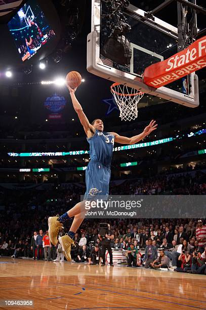 NBA Slam Dunk Contest Washington Wizards JaVale McGee in action dunk during AllStar Saturday Night of AllStar Weekend at Staples CenterLos Angeles CA...