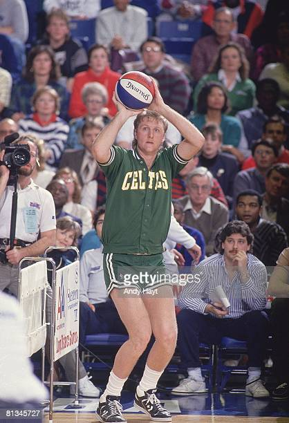 Basketball NBA Three Point Contest Boston Celtics Larry Bird in action taking shot during All Star Weekend Seattle WA 2/8/1987