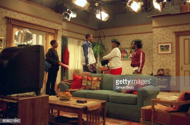 New Jersey Nets Jayson Williams shooting scene with actor and comedian Bill Cosby and Doug E Doug during taping of his special appearance on the set...