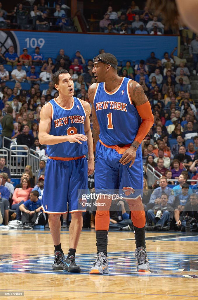 New York Knicks Amar'e Stoudemire (1) with Pablo Prigioni (9) during game vs Orlando Magic at Amway Center. Greg Nelson F24 )