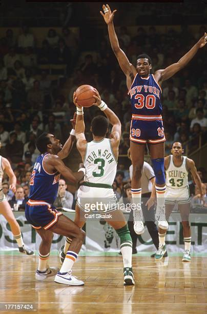 New York Knicks Bernard King in action defense vs Boston Celtics Dennis Johnson at Boston Garden Game 5Boston MA 4/29/1984CREDIT Carl Skalak