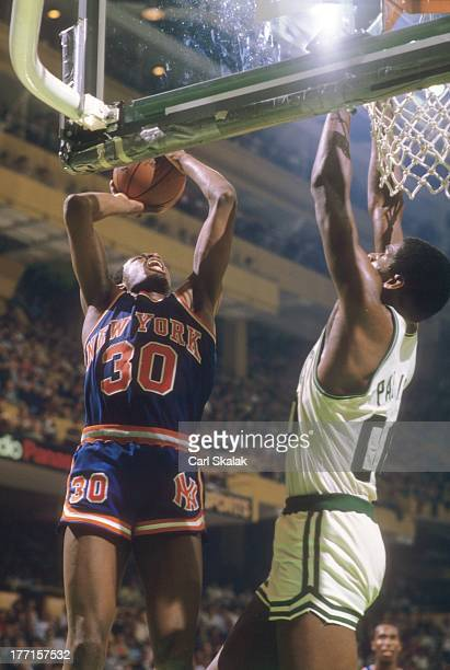 New York Knicks Bernard King in action layup vs Boston Celtics Robert Parish at Boston Garden Game 5Boston MA 4/29/1984CREDIT Carl Skalak