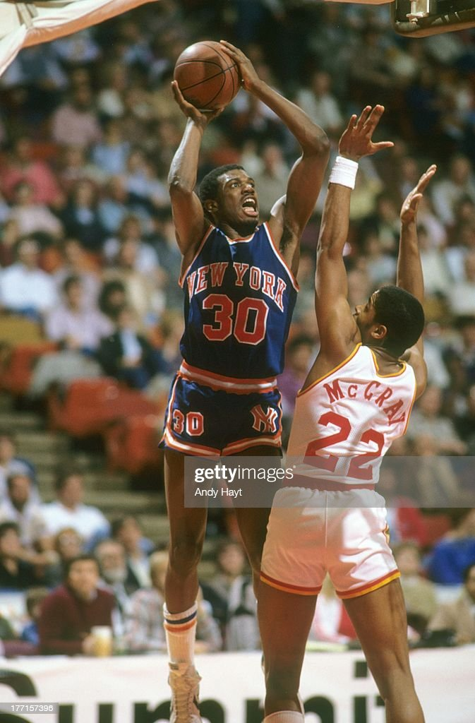 New York Knicks <a gi-track='captionPersonalityLinkClicked' href=/galleries/search?phrase=Bernard+King&family=editorial&specificpeople=214248 ng-click='$event.stopPropagation()'>Bernard King</a> (30) in action, shot vs Houston Rockets Rodney McCray (22) at The Summit.Houston, TX 2/4/1984CREDIT: Andy Hayt