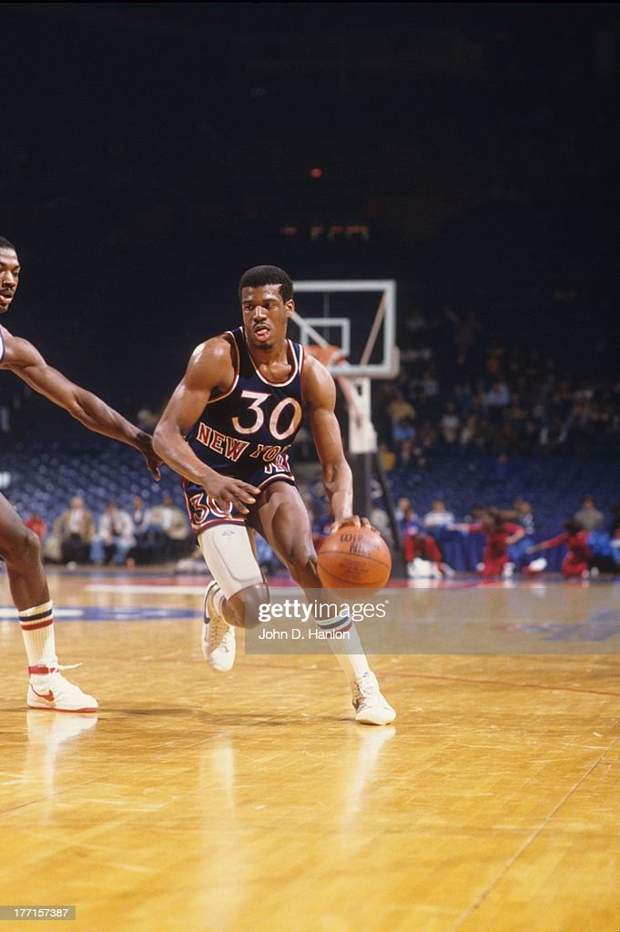 New York Knicks <a gi-track='captionPersonalityLinkClicked' href=/galleries/search?phrase=Bernard+King&family=editorial&specificpeople=214248 ng-click='$event.stopPropagation()'>Bernard King</a> (30) in action vs Washington Bullets at Capital Centre. John D. Hanlon F21 )