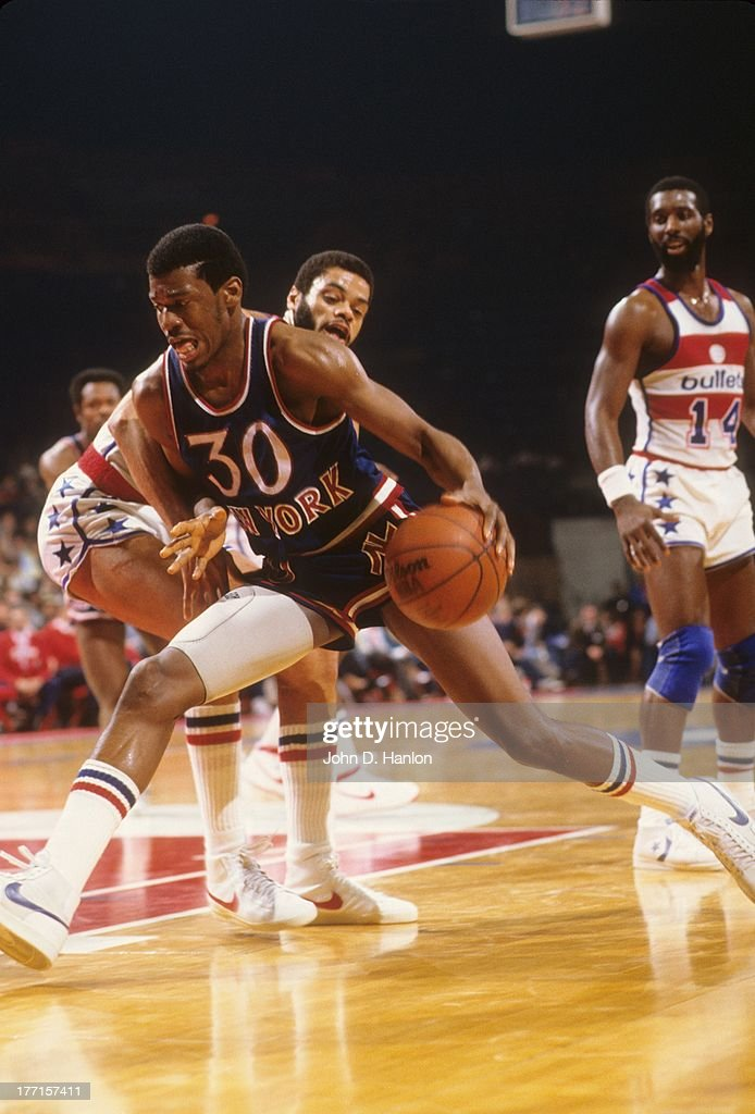 New York Knicks <a gi-track='captionPersonalityLinkClicked' href=/galleries/search?phrase=Bernard+King&family=editorial&specificpeople=214248 ng-click='$event.stopPropagation()'>Bernard King</a> (30) in action vs Washington Bullets at Capital Centre. John D. Hanlon F3 )
